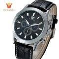 Ouyawei esporte relógios de marca homens de luxo de ouro relógio de pulso mecânico de couro clássico vestido de negócios relógios relógio de vento mão
