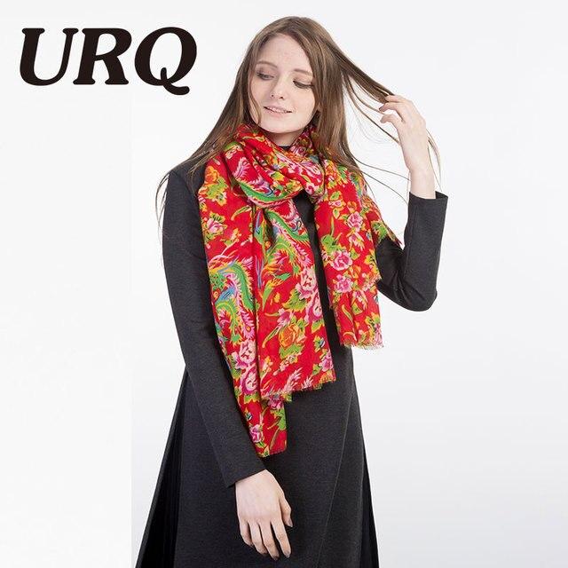 Mode Chinois Style Écharpe Nouveau Designer Femmes long Coton Foulards  Grand Rouge Floral Châle Silencieux Lady 808c3b9e511