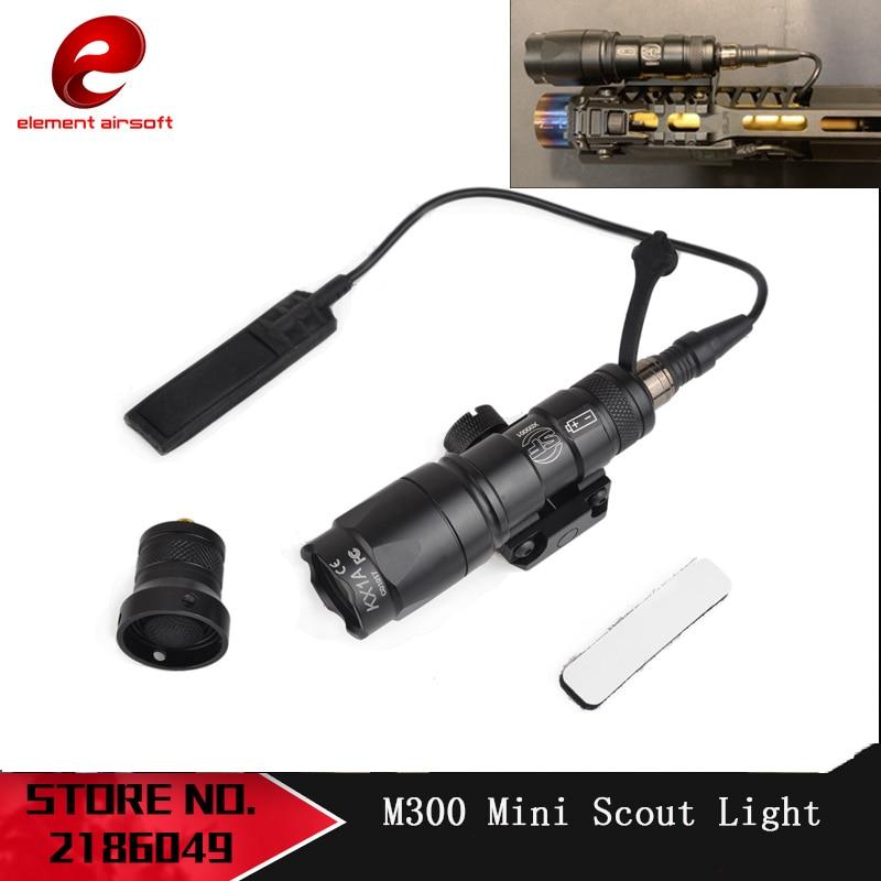 Elementas Tactical SF M300 Mini Scout Light 250 liumenų žibintuvėlis su nuotolinio jungiklio uodega ir 20 mm pynės bėgeliu EX191