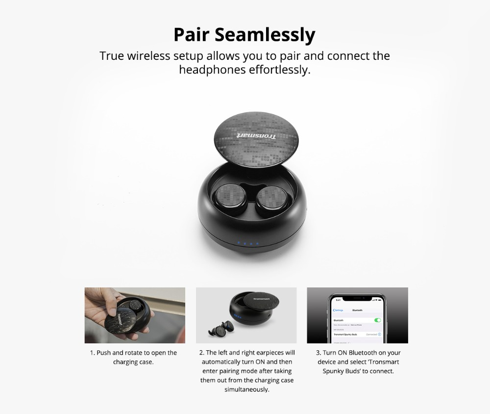 Tronsmart Spunky Buds Wireless Headphones Bluetooth 5.0 True Wireless Stereo Earbuds IPX5 Headphones with Mic for Phones 02