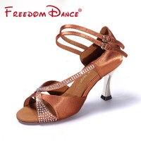 High Quality Rhinestones Decorated Satin Fabric Women's Dancesport Shoe High Heel Latin Ballroom Dance Shoe Dark Tan Black