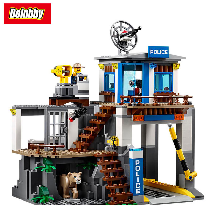 Mountain Police Headquarters City Series Model Building Block Bricks Toys Compatible Legoings City 60174 цена