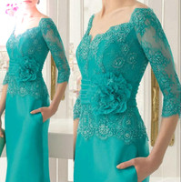 Elegant Emerald Appliques Mother of the Bride Dress Lace Three Quarters Sleeves Floor Length Long Formal Evening Dress