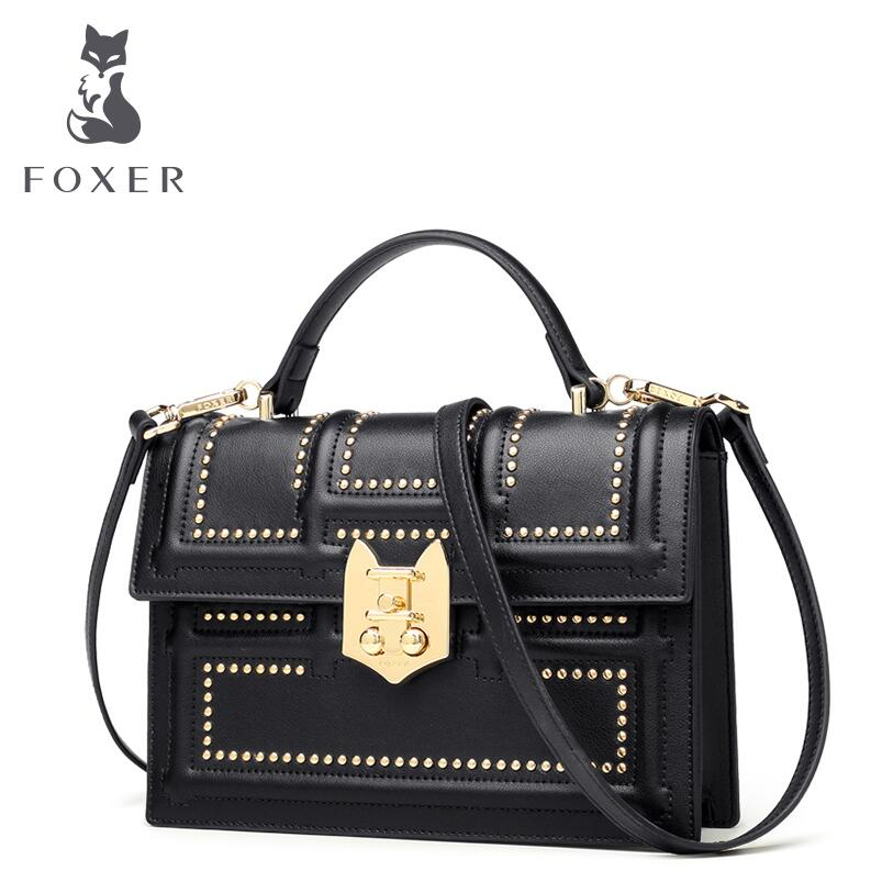 FOXER 2018 New Fashion Rivet Handbag Female bag leather small square package Fashion Shoulder Messenger Bag 2017 new national wind aslant handbag embroidered flowers small square bag rivet shoulder bag