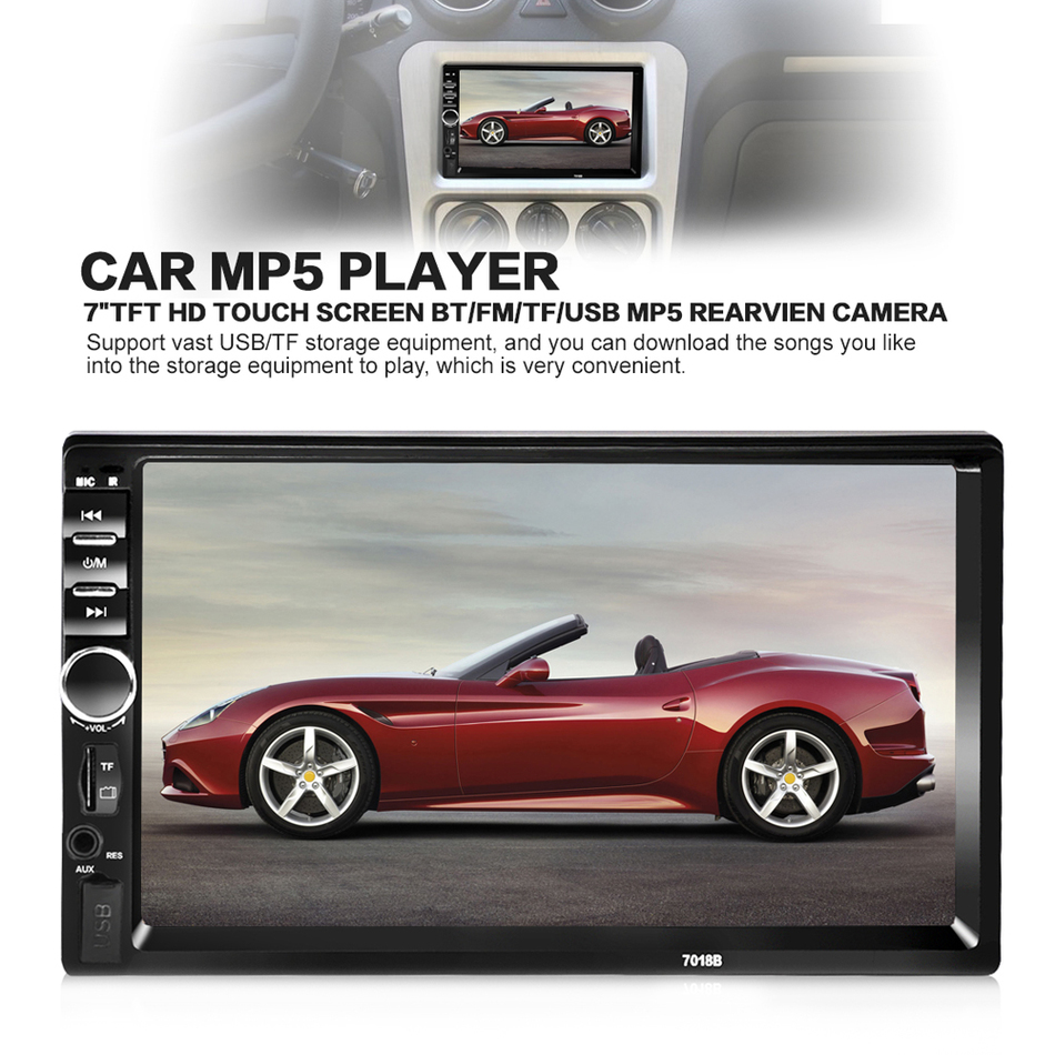 7018B Universal 7 Inch 2 DIN Car Audio Stereo Player Touch Screen Car Video MP5 Player TF SD MMC USB FM Radio Hands free Call