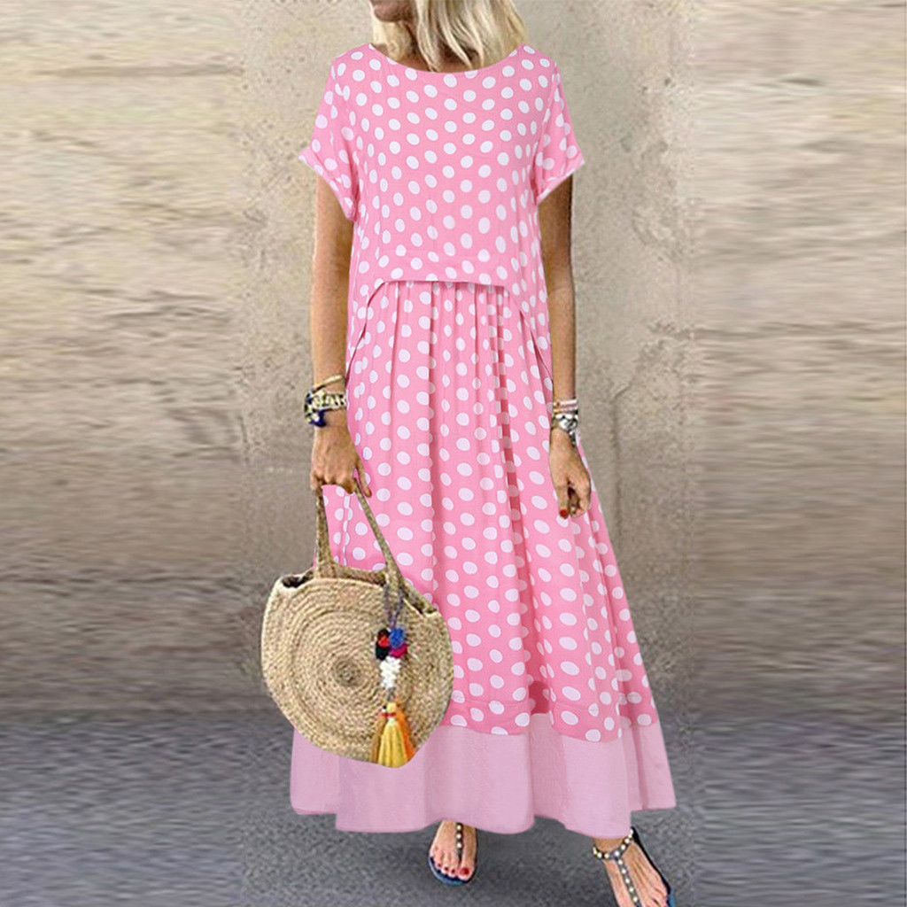 Bohemian Women Polka Dot Fake Two Pieces O-Neck Short Sleeve Summer Plus Size Maxi Dress Loose casual Dress Polyester clothing*