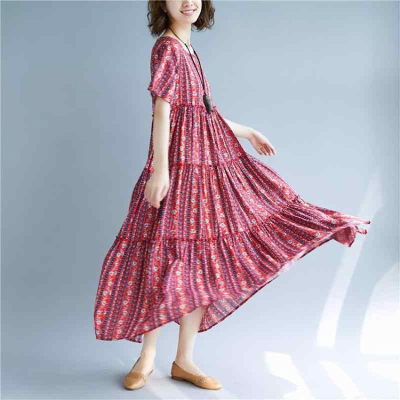 Jonature винтажное Плиссированное Платье Лето 2019 Новое свободное женское платье с круглым вырезом и коротким рукавом с цветочным принтом корейские платья длиной до щиколотки