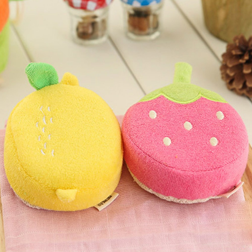 Cute Baby Fruit Bath Sponge Children Bathing Scrubber Rub Towel Cartoon Pure Cotton Bathing Ball for Baby Showering