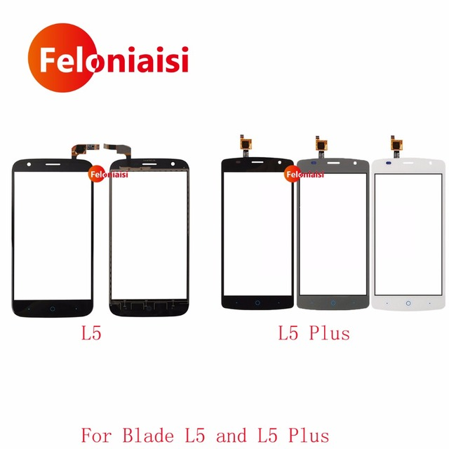 """10Pcs/lot High Quality 5.0"""" For ZTE Blade L5 and L5 Plus Touch Screen Digitizer Sensor Front Glass Lens Panel Black White Gray"""