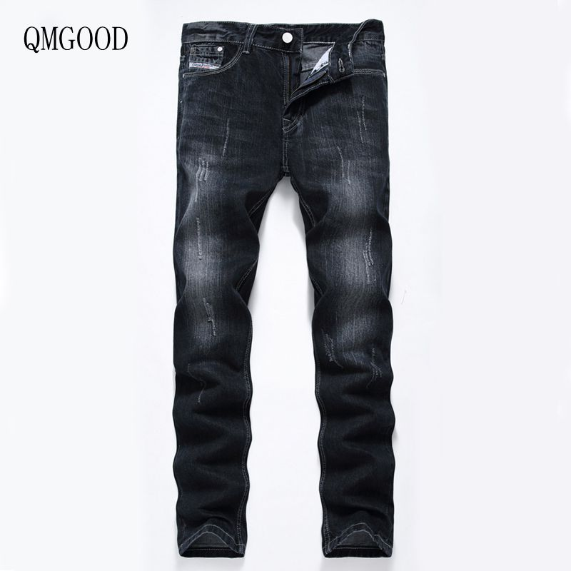 QMGOOD New Men Casual Black Large Size Straight Jeans Size 28-40 High Quality Fashion Men's Brand Pants Cotton Cowboy Trousers sulee brand 2017 new fashion business men jeans cotton denim jeans casual straight washed pants stretch jeans plus size 28 40