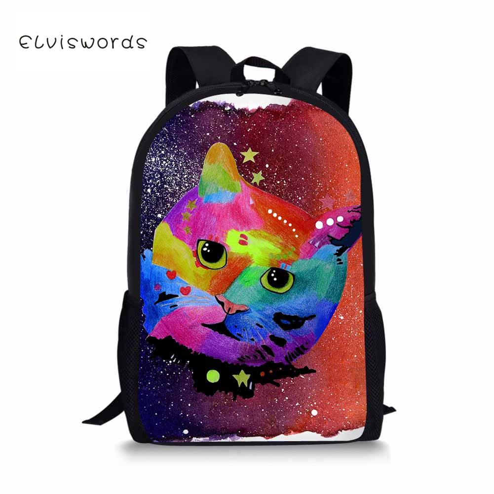 ELVISWORDSChildren School Bags for Girls Colored Drawing Dog Orthopedic Backpack Schoolbag Mochila Escolar Customize for Gifts in School Bags from Luggage Bags
