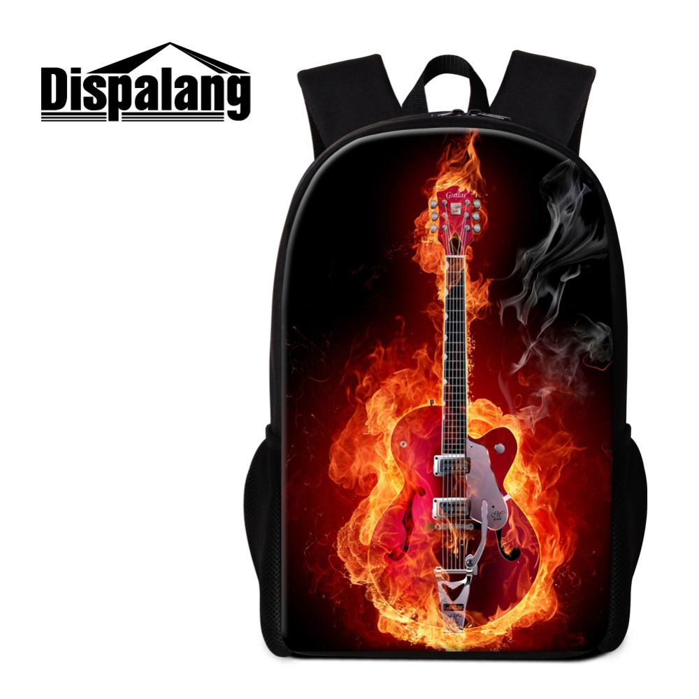 New UK Ladies  Girls Trendy Casual Bag Guitar Design Pattern Back Pack Hand Bag