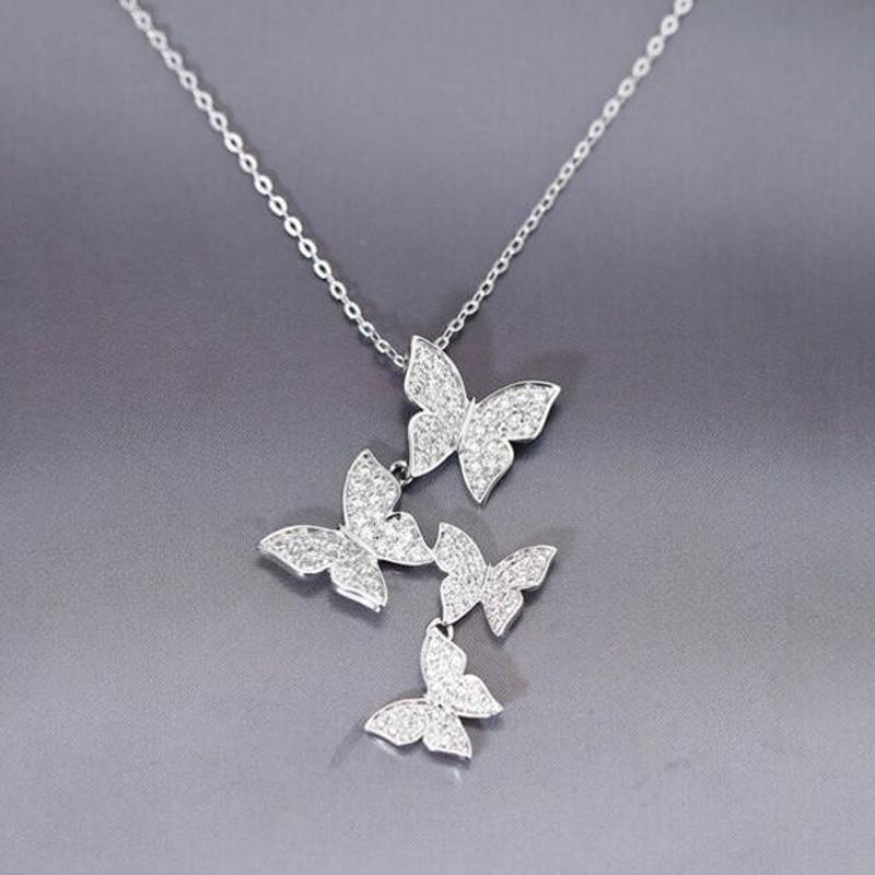SMJEL Nove višestruke srebrne cirkonske ogrlice sa leptirima za - Modni nakit - Foto 3
