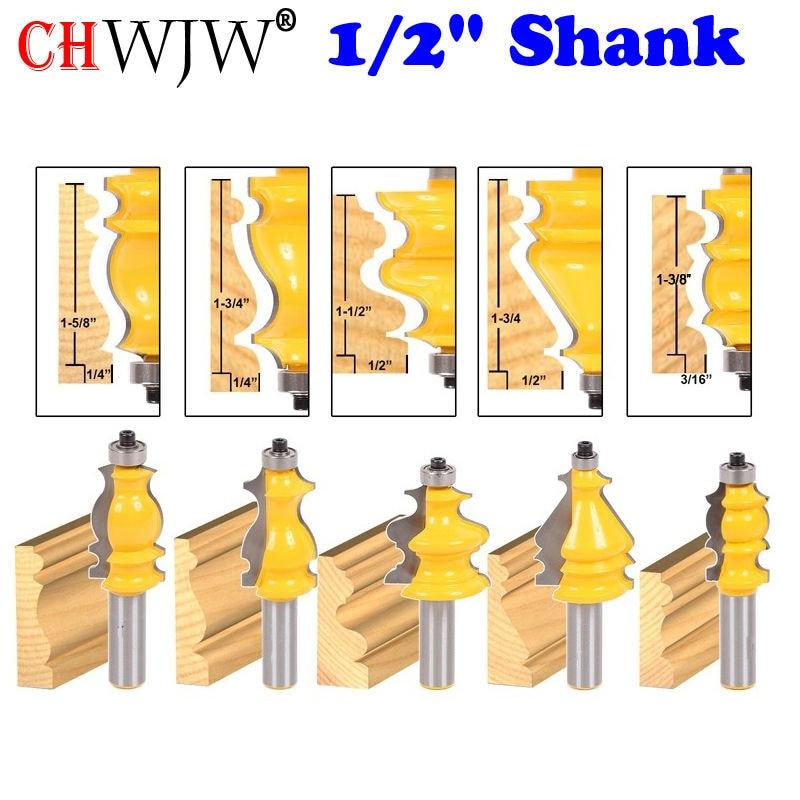 5PC 1 2 Shank Casing Base Molding Router Bit Set CNC Line knife Woodworking cutter Tenon