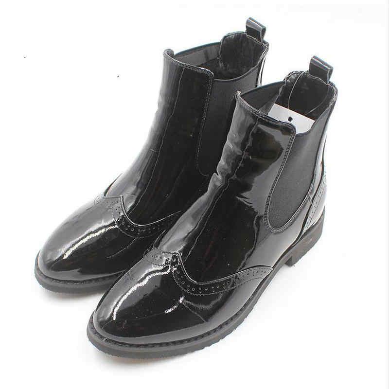 Herbst und Winter Handgemachte Braun Vintage Echtem Leder frauen Elastische Ärmeln Brock Geschnitzt Stiefel Frauen Plus Größe 43