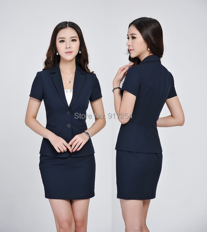 Plus Size Formal Dark Blue 2015 Spring Summer Professional Business Suits Jackets And Skirt Office Ladies
