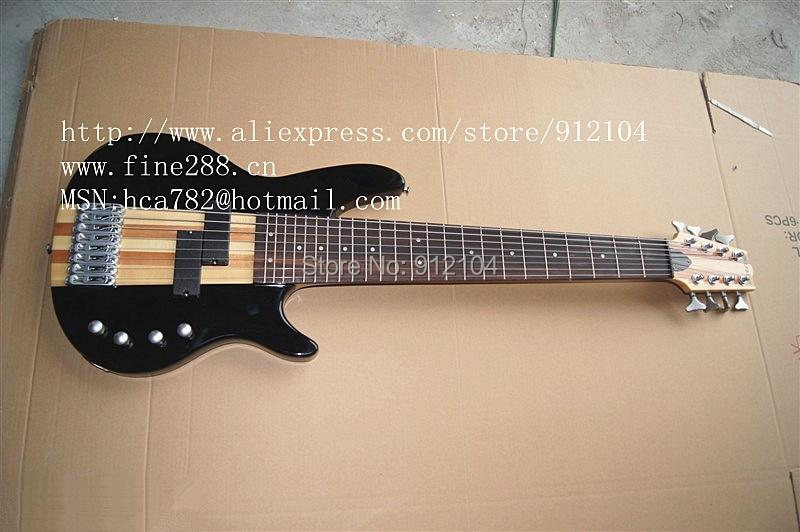 Livraison gratuite nouvelle guitare basse électrique 8 cordes en noir et sunburst fabriquée en chine + boîte en mousse F-1850-2
