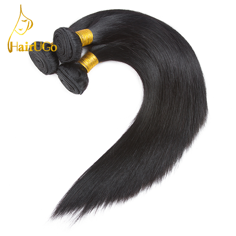 HairUGo Hair pre-colored Peruvian Hair Straight 3 Bundles #1b Color human hair Non Remy Hair Weaving Free Shipping