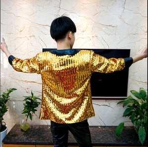 BADUN QISHI Men s Sequins Suit Male Blazers Jacket Singers d0cc83f63908