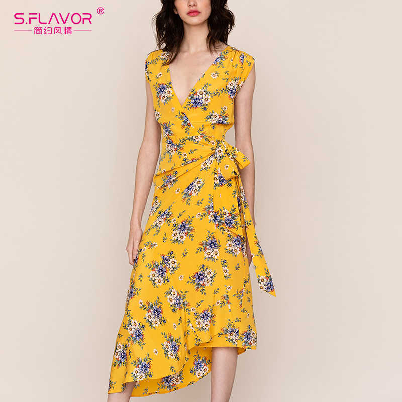 S.FLAVOR Women V-neck printing long vestidos good quality Casual Spring Autumn dress 2019 Popular sleeveless Sexy Printing Dress