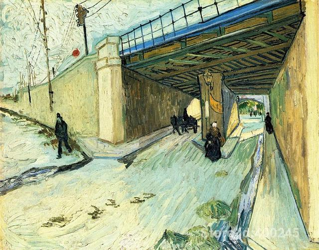 Canvas Reproductie De Spoorweg Brug over Avenue Montmajour