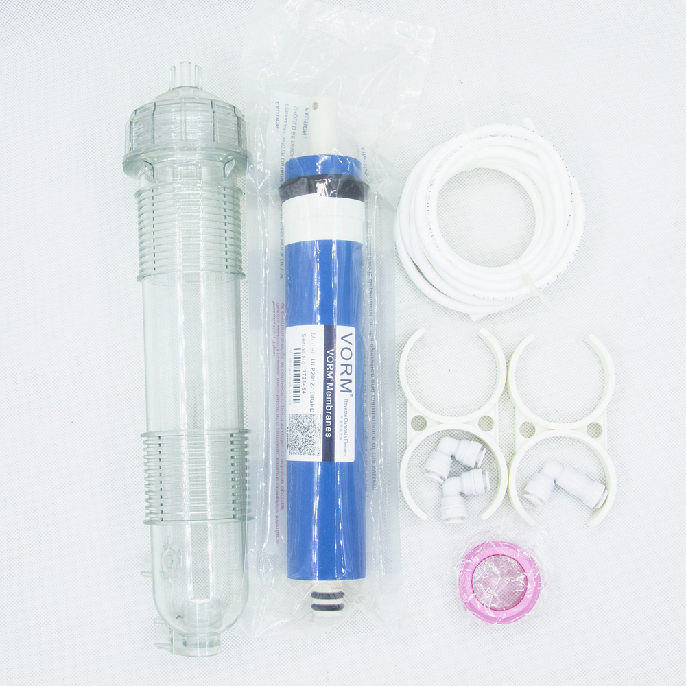 One Set 100gpd Ro Membrane + 1812 Ro Membrane Filter Housing Shell Reverse Osmosis Water Filter System Parts + Quick Fittings