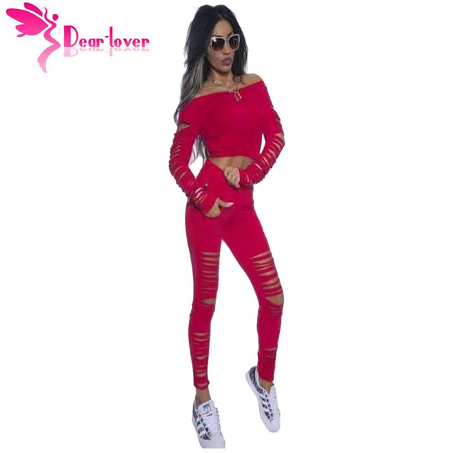 Dear Lover костюм для женщин 2016 осень 2 ШТ. одежда Повседневная мода Красный Длинным Рукавом Растениеводство Топ Ребристые Вырез Брюки Набор LC62024