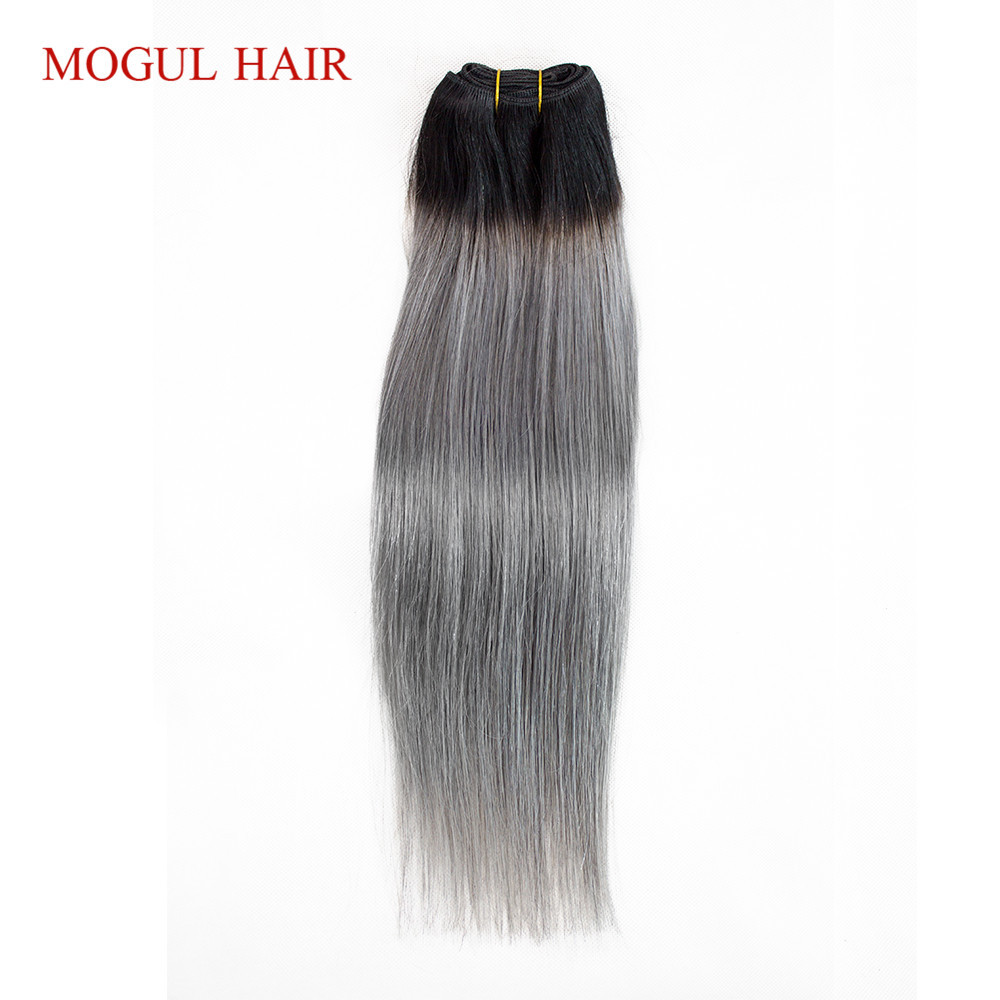 MOGUL HAIR 1 Piece Only T 1B Grey Straight Hair Extensions Ombre Brazilian Remy Human Hair Weave Bundles 10-18 inch