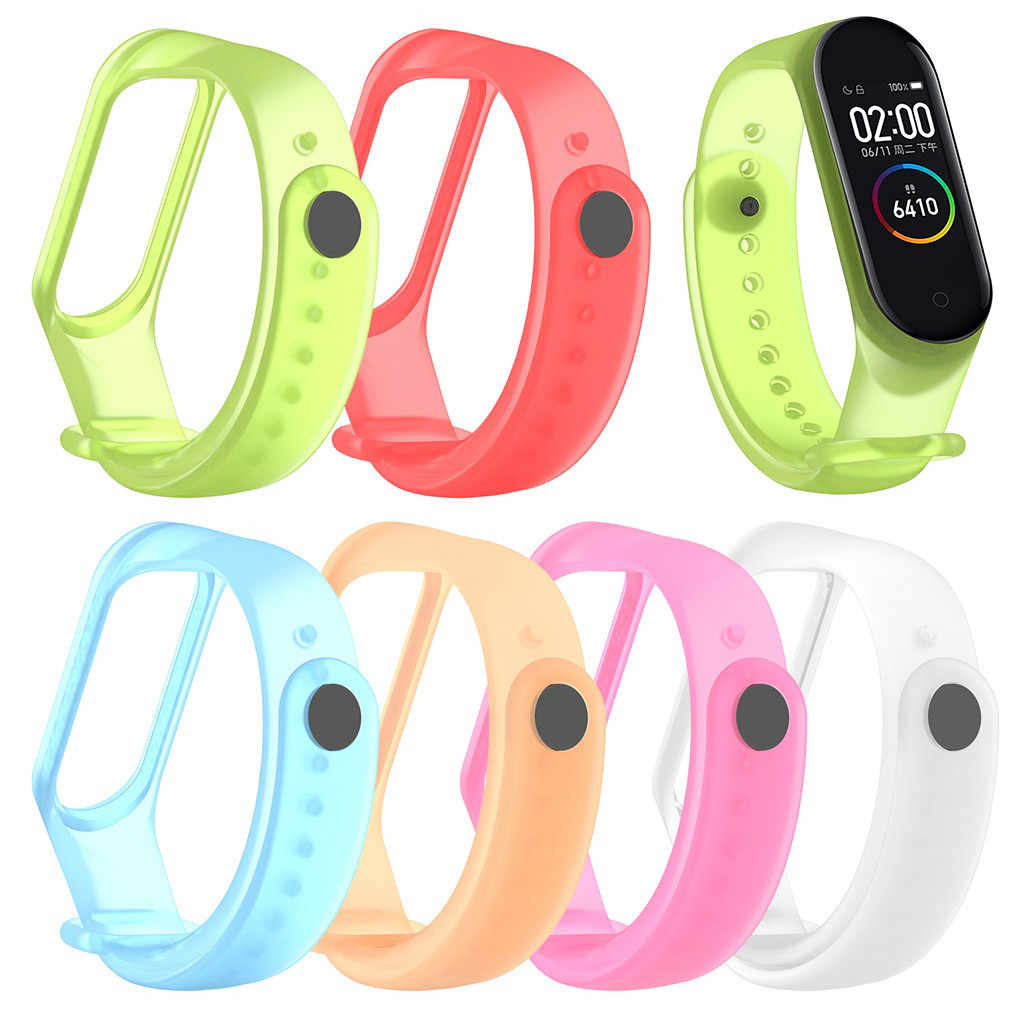 Transparent Silicone Replacement Wristband Wrist Strap Watch Band For XiaoMi mi Band 4 Dropshipping