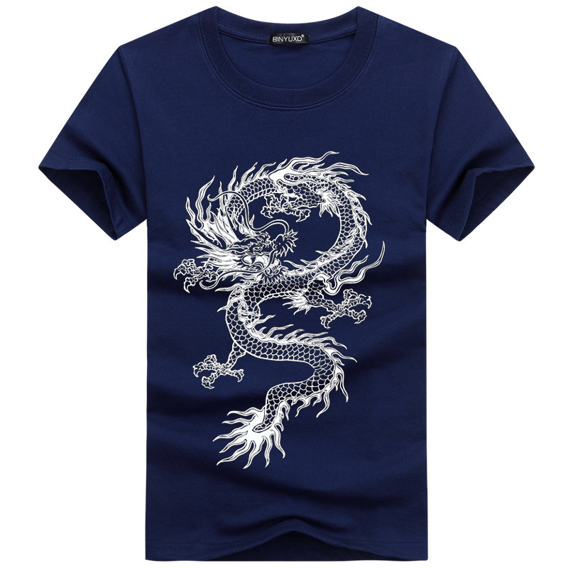 Summer Short sleeved Tshirt Male Plus Fat Size Men Youth Sleeve Tide Chinese Dragon Tops fashion tshirts mens clothing 5colour