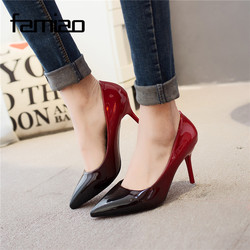 Ms 2017 women pumps fashion pointed toe patent leather stiletto high heels shoes spring summer wedding.jpg 250x250