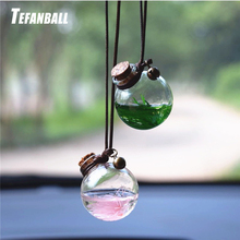 2Pcs/set Car Hanging Pendant Empty Glass Perfume Bottle Suspension Ornaments Air Freshener For Essential Oils Without