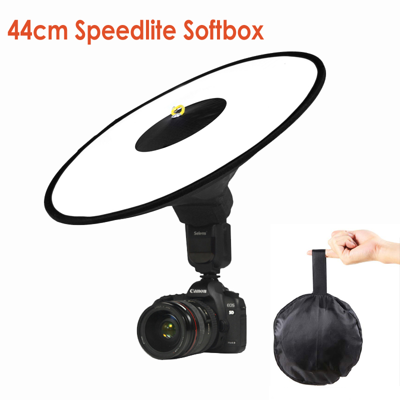 Universal 44cm Easy-fold Round Flash Softbox Speedlight Speedlite Diffuser Reflector for Canon Nikon Sony Metz Macro Shooting metz planea 55 uhd