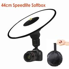 купить Universal 44cm Easy-fold Round Flash Softbox Speedlight Speedlite Diffuser Reflector for Canon Nikon Sony Metz Macro Shooting по цене 1015.68 рублей