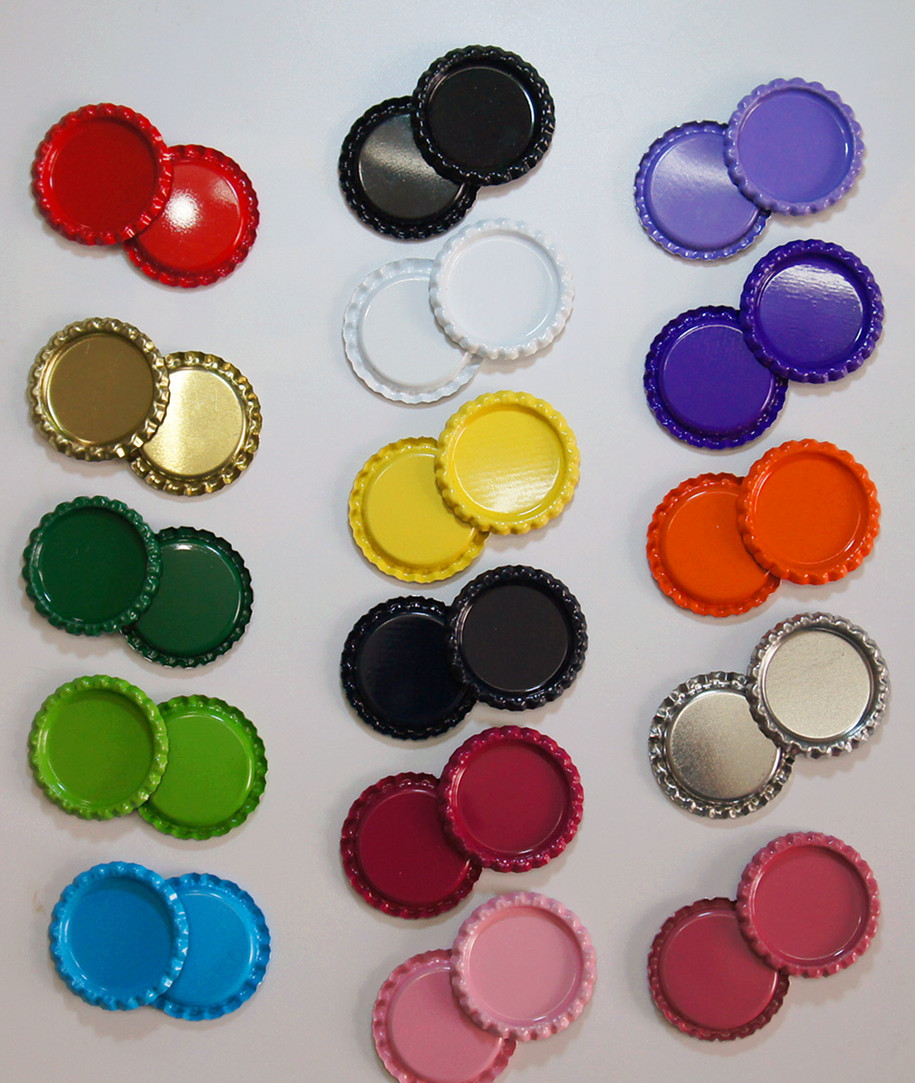 Hair bow button accessories - 2016 New Arrival 100pcs Lot Colored Flattened Bottle Caps Diy Hair Bows Accessories Mixed 16 Colors