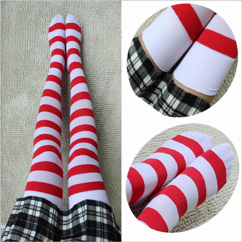 Striped Kawaii Thigh High Stockings Red White Cosplay Stockings Over The Knee Women Girls Student Anime Pantyhose Stockings
