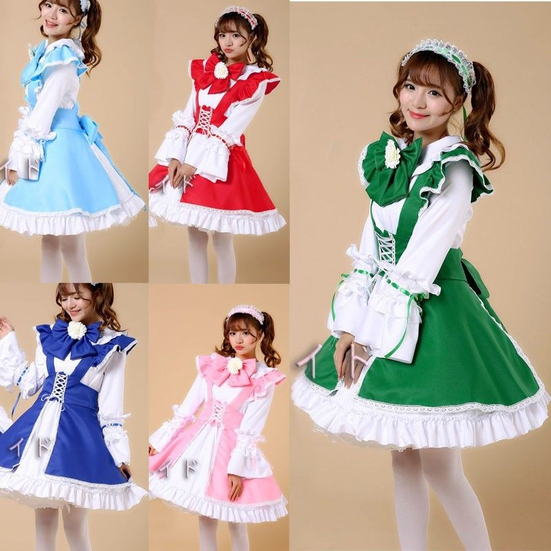 Adult Japanese Sweet Maid Dress Cosplay Lolita Dress Size S-2XL Alice in Wonderland Mermaid Fantasia Carnival Halloween Costumes