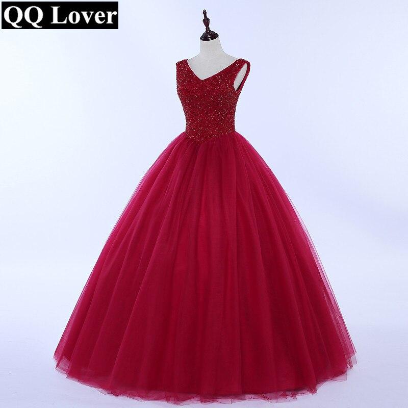 QQ Amant 2018 Nouveau Pleine Perles robe de Bal De Mariage Robe Bling Bling Beaucoup De Couleurs V-cou De Mariée Robe De Mariage