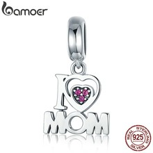 BAMOER 100% Authentic 925 Sterling Silver i Love Mom Letter Pendant Charms fit Bracelets Fashion Jewelry Mother Gift SCC420(China)