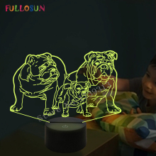 3D Night lamp Pug Dog  LED Lights Baby Gift 7 Color Pekingese Illusion Beside Lamp as Holiday Novelty Lighting