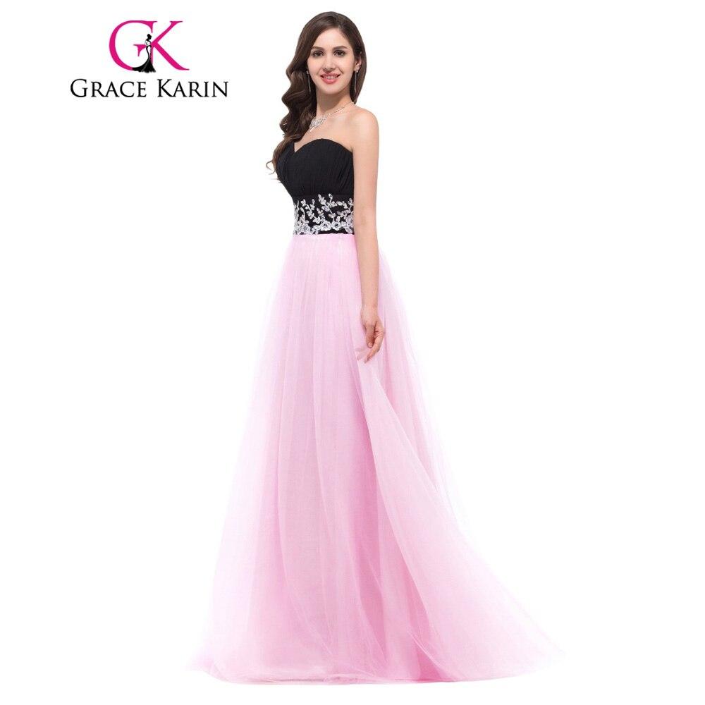Grace Karin vestidos de noche largos 2018 Sweetheart negro y rosa ...