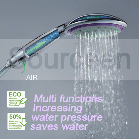 Free shipping handheld chrome water saving pressure rainfall square abs hand held shower head handshower for
