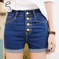 Coreano de un solo pecho de la cintura pantalones cortos de mezclilla verano femenino mm de gran tamaño era delgada elástico ocasional delgado que se encrespa caliente pantalones cortos