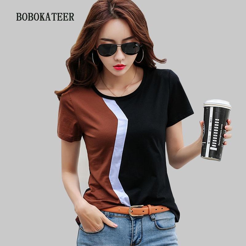 Женская футболка BOBOKATEER, летняя повседневная футболка большого размера, 2019