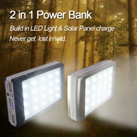 10000mAh Solar Power Bank With 20 LED Camp Lights External Solar Charger Power Bank For All