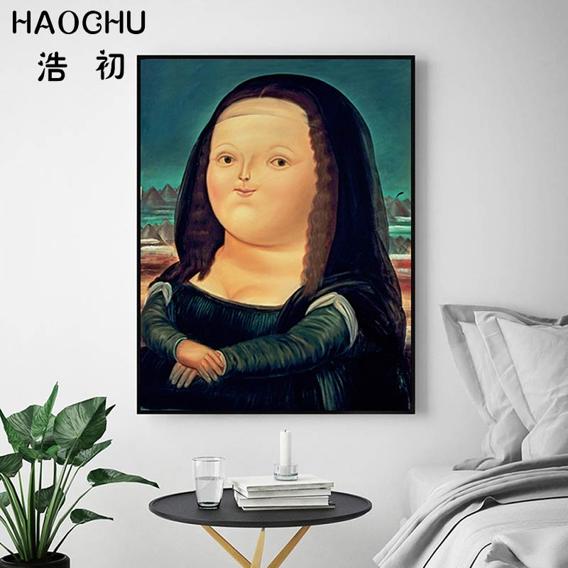 HAOCHU Nordic Fat Girl Mona Lisa Painting Decor Canvas Poster Wall Art Print Picture For Living Room Bedroom Decor Poster|Painting & Calligraphy| |  - AliExpress