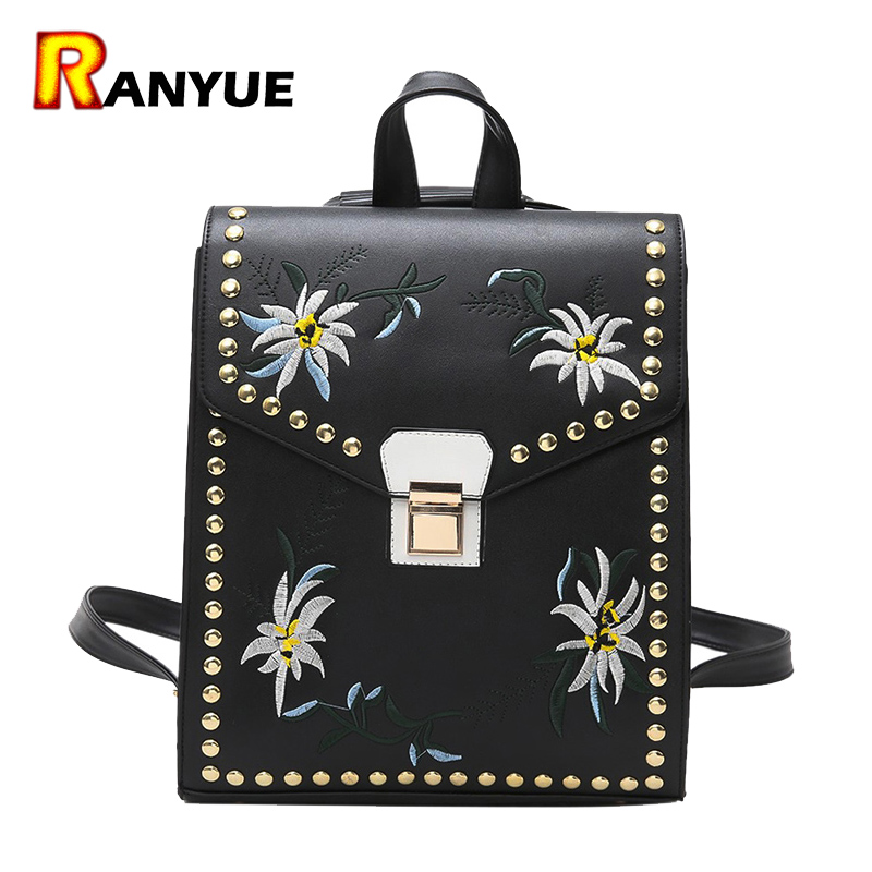White Black Pu Leather Rivet Flower Backpack Woman Mochilas Mujer 2017 Floral Embroidered Backpack School Bags