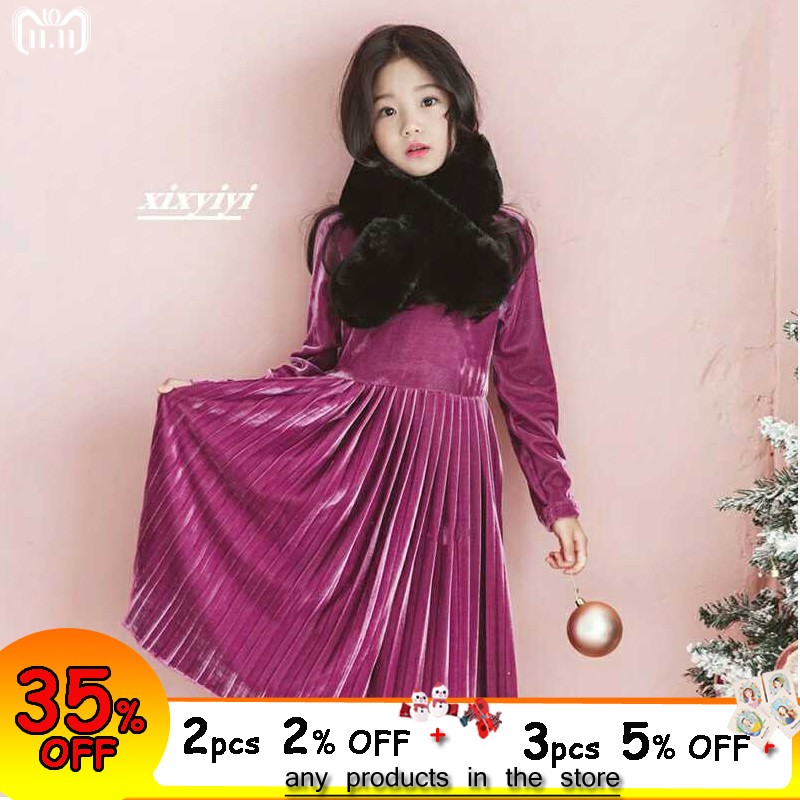 b45c8a352c60 Girl Velvet Dress Long Sleeve Autumn Winter Wedding Party Dress 2018 New  Year Kids Dress for Teenage Age 4 6 8 10 12 14 years - aliexpress.com -  imall.com