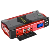 Mobile Power 20000Mah Car Starter Booster 4 Usb Emergency Search Light Charger With Us Standard Plug Black & Red Plastic Dc12V