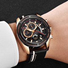 hot deal buy lige chronograph men watches relogio masculino leather business quartz watch clock men creative army military wrist watches+box